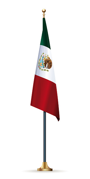 Flag of Mexico on a flagpole with a stand