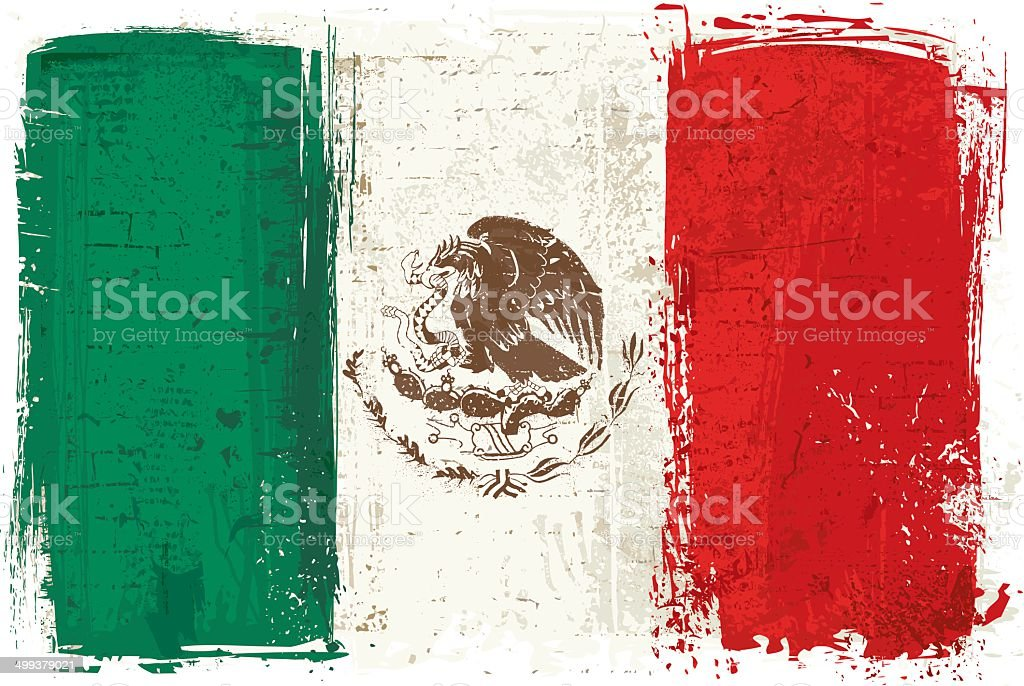 Flag of Mexico on Wall vector art illustration