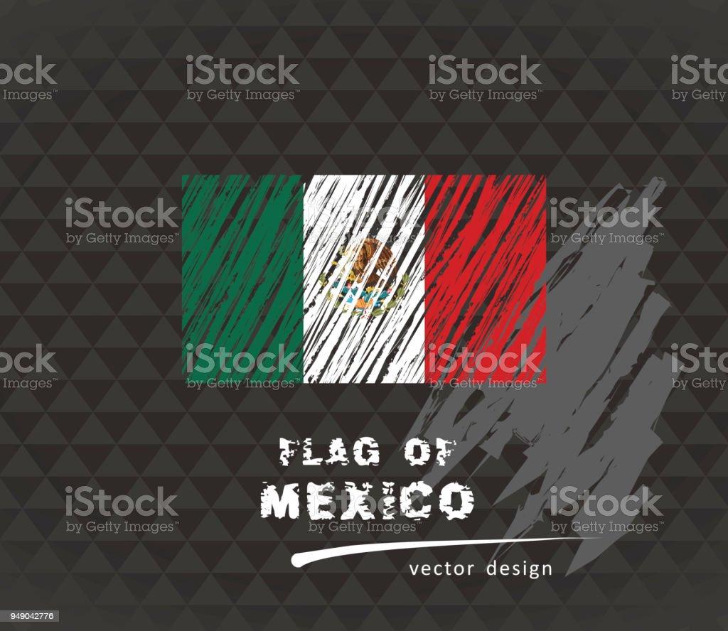 Flag of Mexico, vector pen illustration on black background vector art illustration