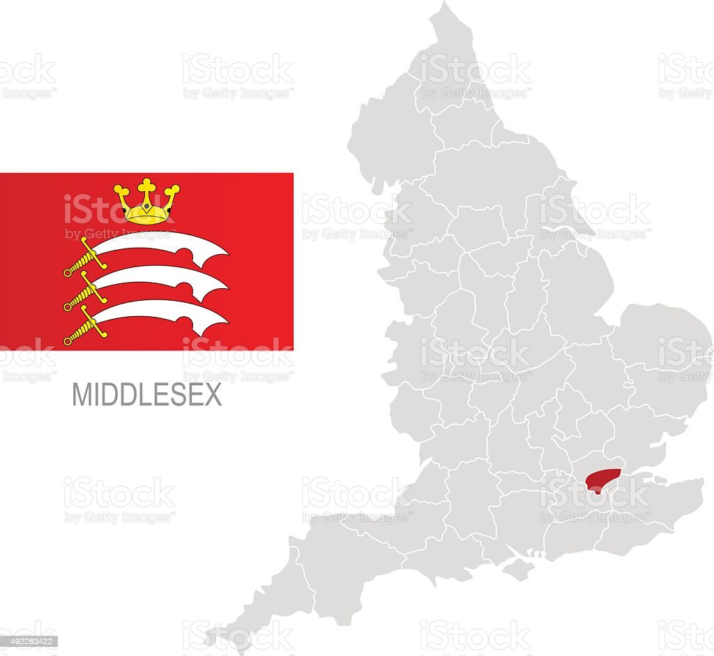 Flag of Middlesex and location on England map vector art illustration