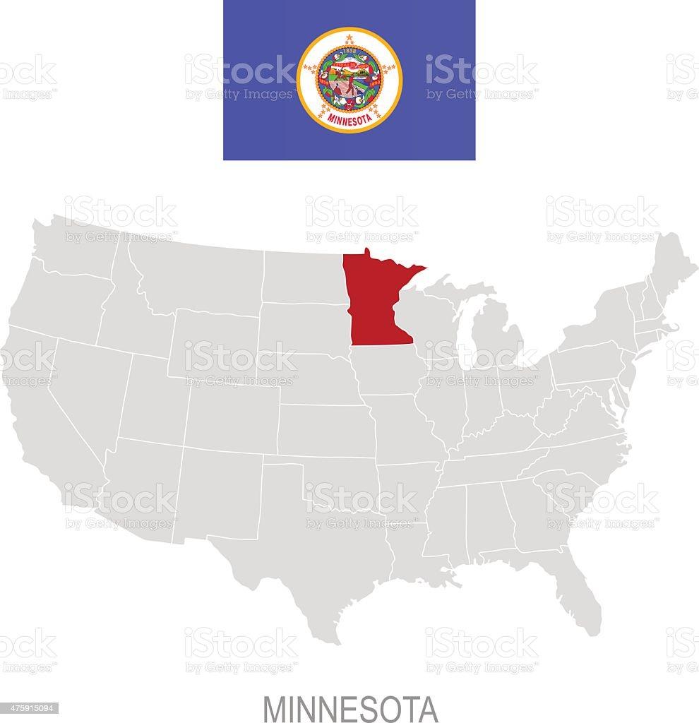 Bandiera del minnesota e posizione sulla mappa degli stati for Costruttori di cabina del minnesota