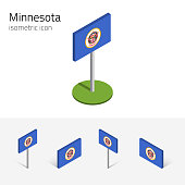 Flag of Minnesota (State of Minnesota, USA), vector set of isometric flat icons, 3D style, different views. Editable design element for banner, website, presentation, infographic, poster, map. Eps 10