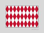 Flag of Monaco. Alternate Design Version. National Ensign Aspect Ratio 2 to 3 on Gray Cardboard