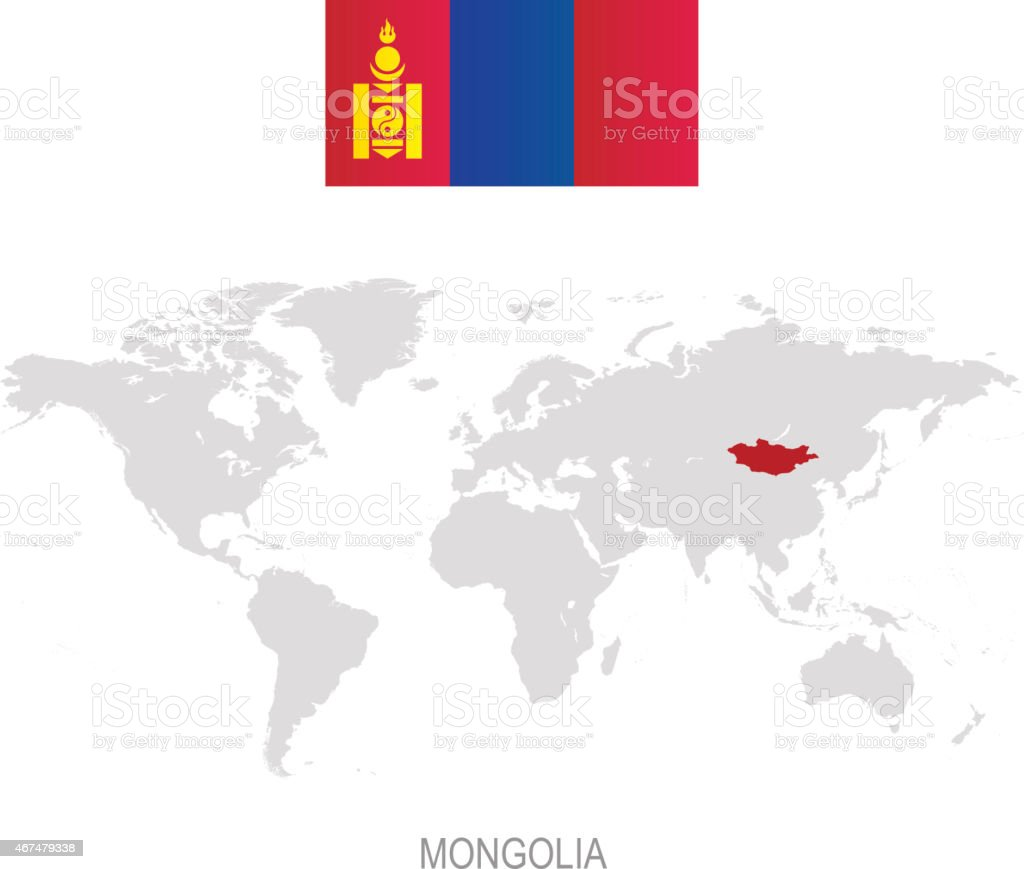 Flag Of Mongolia And Designation On World Map Stock Illustration Download Image Now Istock