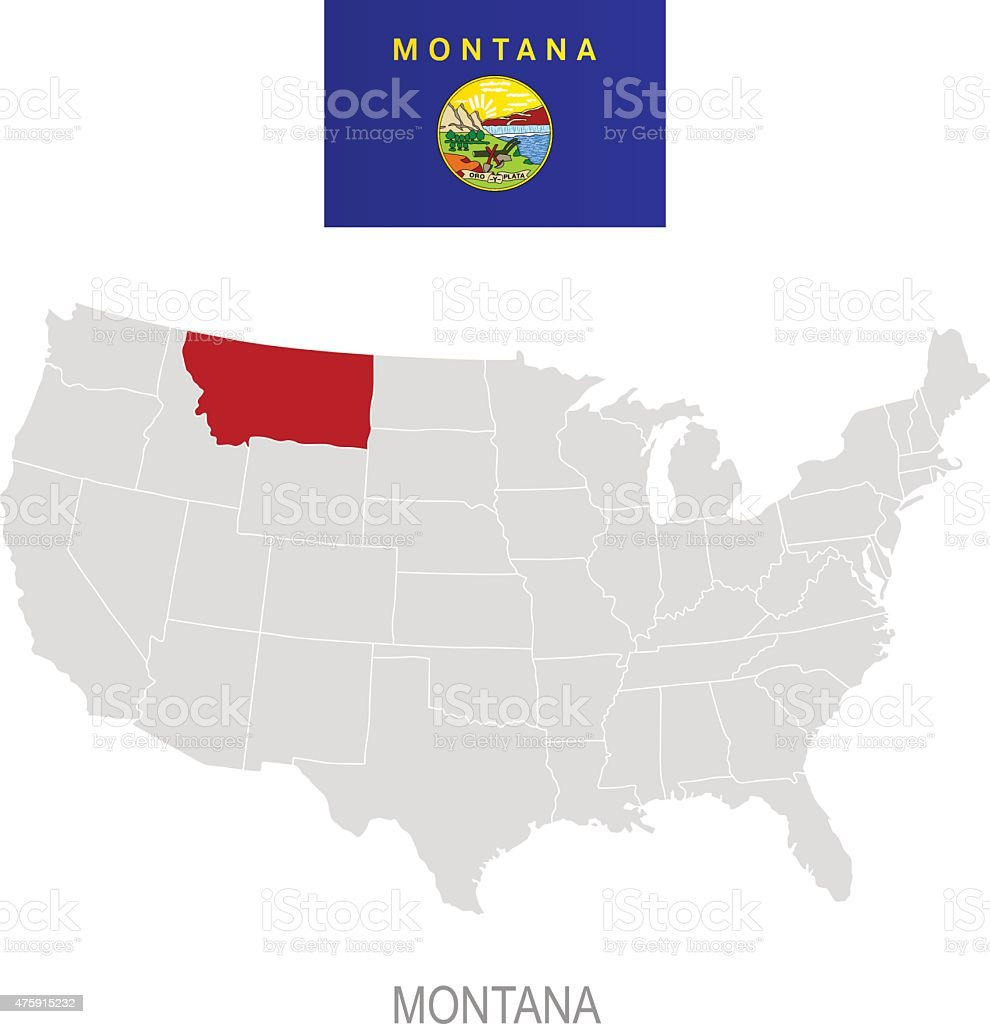 Flag Of Montana And Location On Us Map Stock Vector Art - Montana in the us map