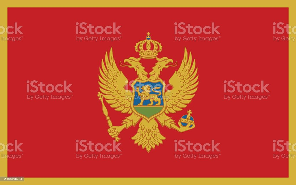 Flag of Montenegro vector art illustration