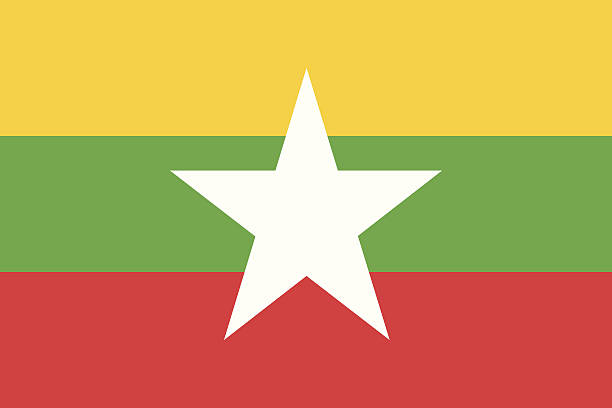 stockillustraties, clipart, cartoons en iconen met flag of myanmar - myanmar