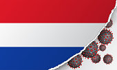 Flag of Netherland with outbreak deadly coronavirus covid-19. Banner with the spread of Coronavirus 2019-nCoV. A large bacteriums against background of national flag. Concept of coronavirus quarantine