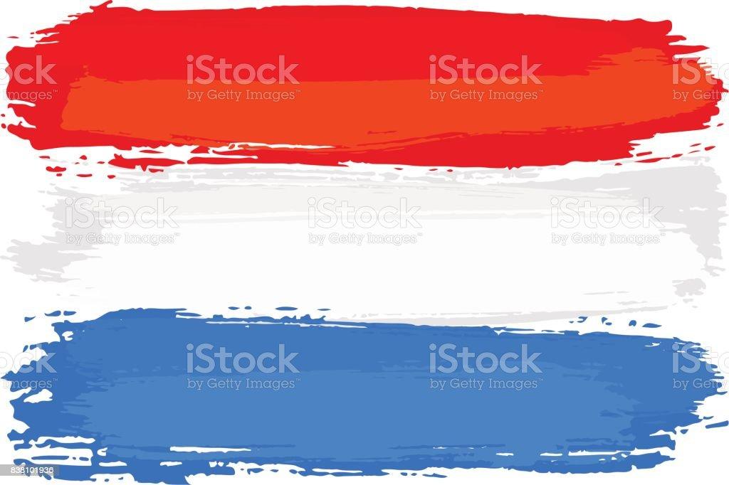 Hollanda Bayrağı Fırça Darbeleri Ile Boyalı Stok Vektör Sanatı