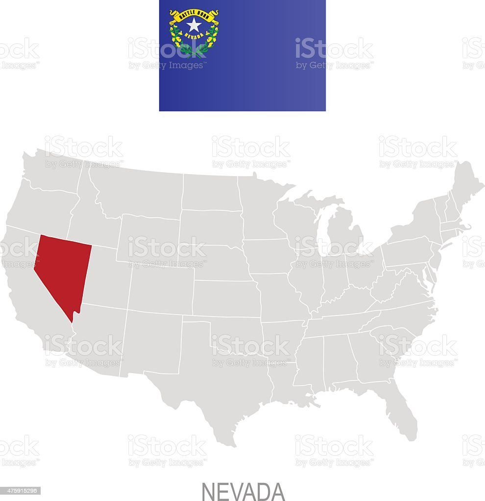 Flag Of Nevada And Location On Us Map Stock Vector Art - Us map nevada