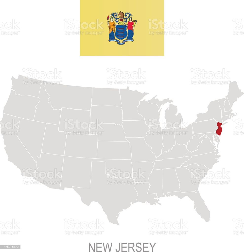 Flag Of New Jersey And Location On Us Map Stock Vector Art - New jersey on us map