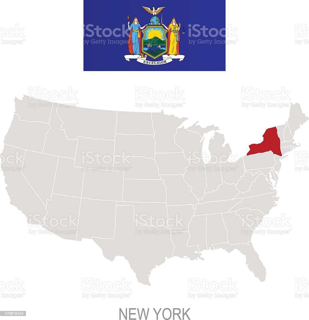 Flag Of New York And Location On Us Map Stock Illustration ...