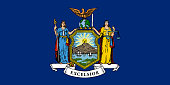 Flag of New York state, vector illustration. Coat of arms of New York state on blue background,, high-quality hand-drawn illustration.