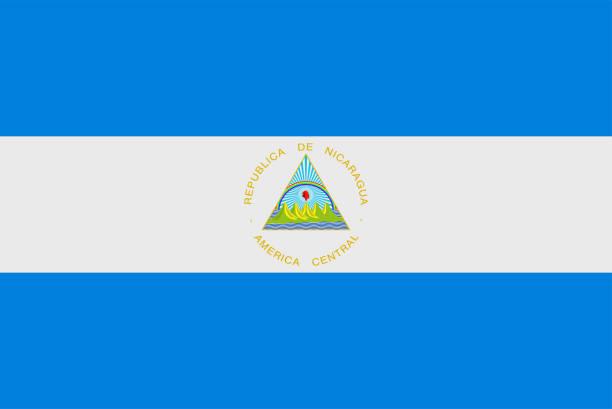 flagge nicaraguas. souveräne staatsflagge nicaraguas - managua stock-grafiken, -clipart, -cartoons und -symbole