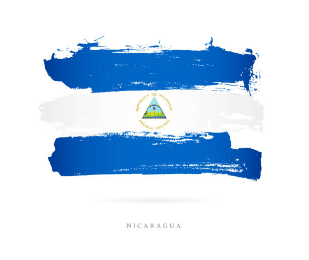flagge von nicaragua. vektor-illustration - managua stock-grafiken, -clipart, -cartoons und -symbole