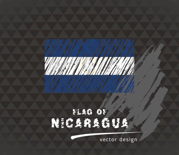 flagge von nicaragua, stift vektorgrafik auf schwarzem hintergrund - managua stock-grafiken, -clipart, -cartoons und -symbole