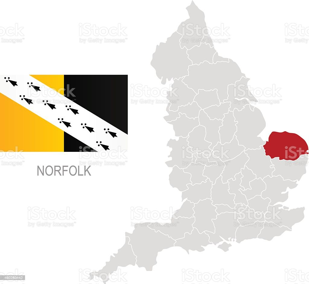 Carte Norfolk Angleterre.Drapeau De Norfolk Et Emplacement Sur La Carte De