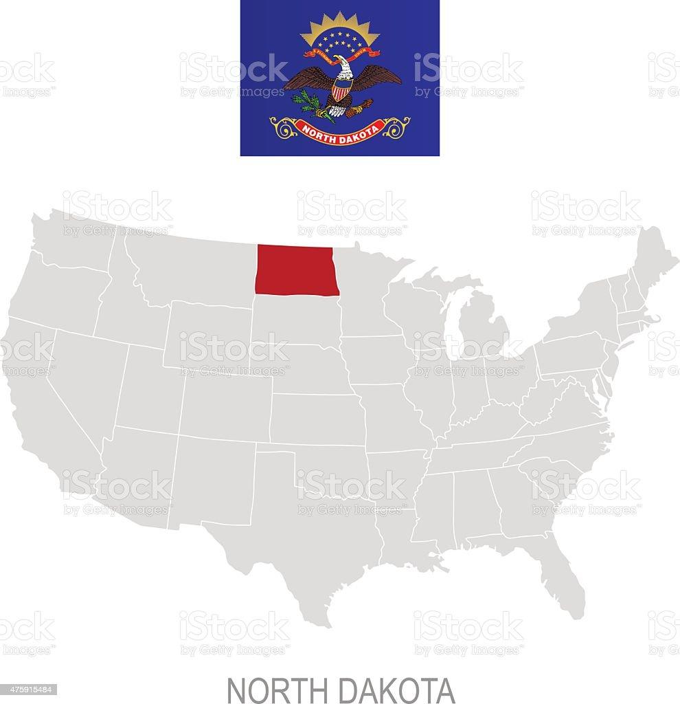 Flag Of North Dakota And Location On Us Map Stock Vector Art - Us map north dakota