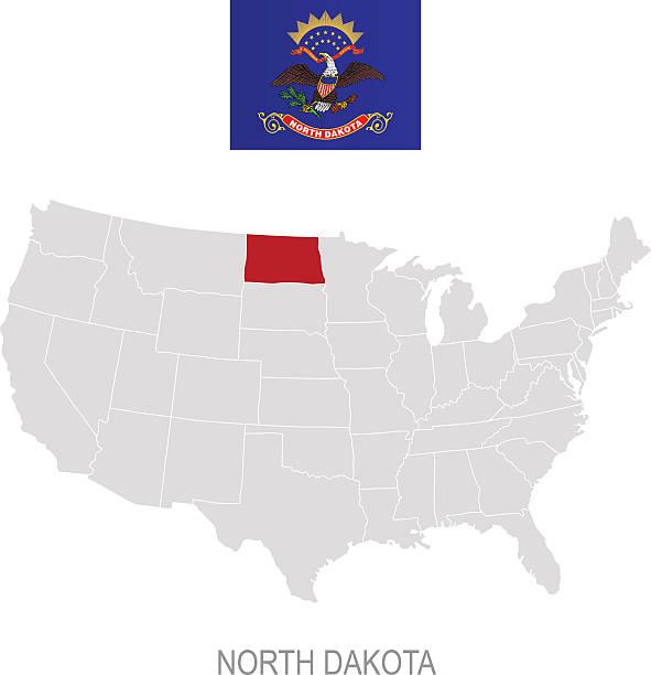 North Dakota State Flag Clip Art Vector Images Illustrations - North dakota us map