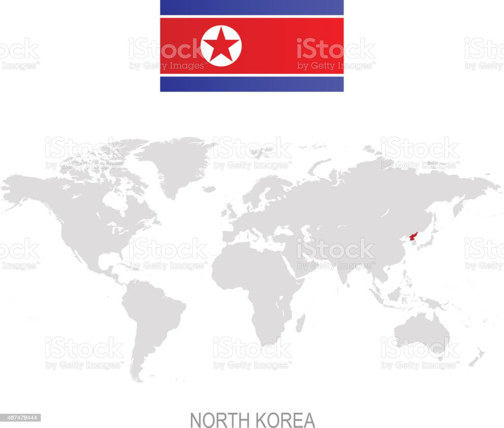 Flag of north korea and designation on world map stock vector art flag of north korea and designation on world map royalty free flag of north korea gumiabroncs Gallery