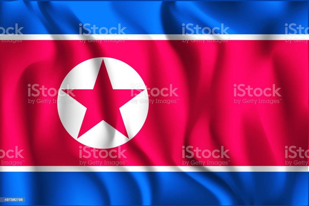 Bandeira da Coreia do Norte. Ícone de forma retangular - ilustração de arte em vetor