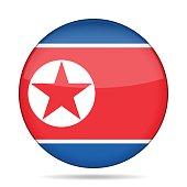 Flag of North Korea. Shiny round button.