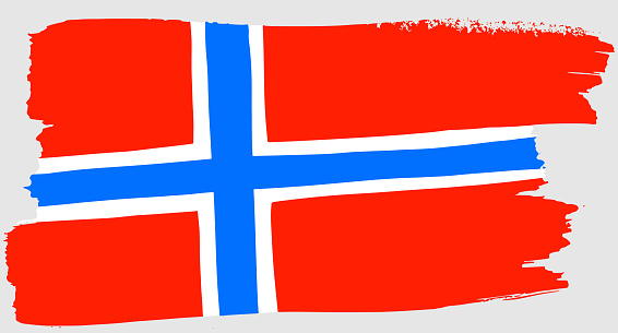 Flag of Norway Brush strokes. Hand drawn sketch