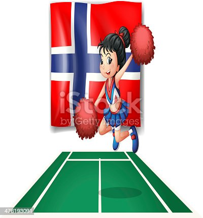 Flag of Norway with a cheerdancer on a white background