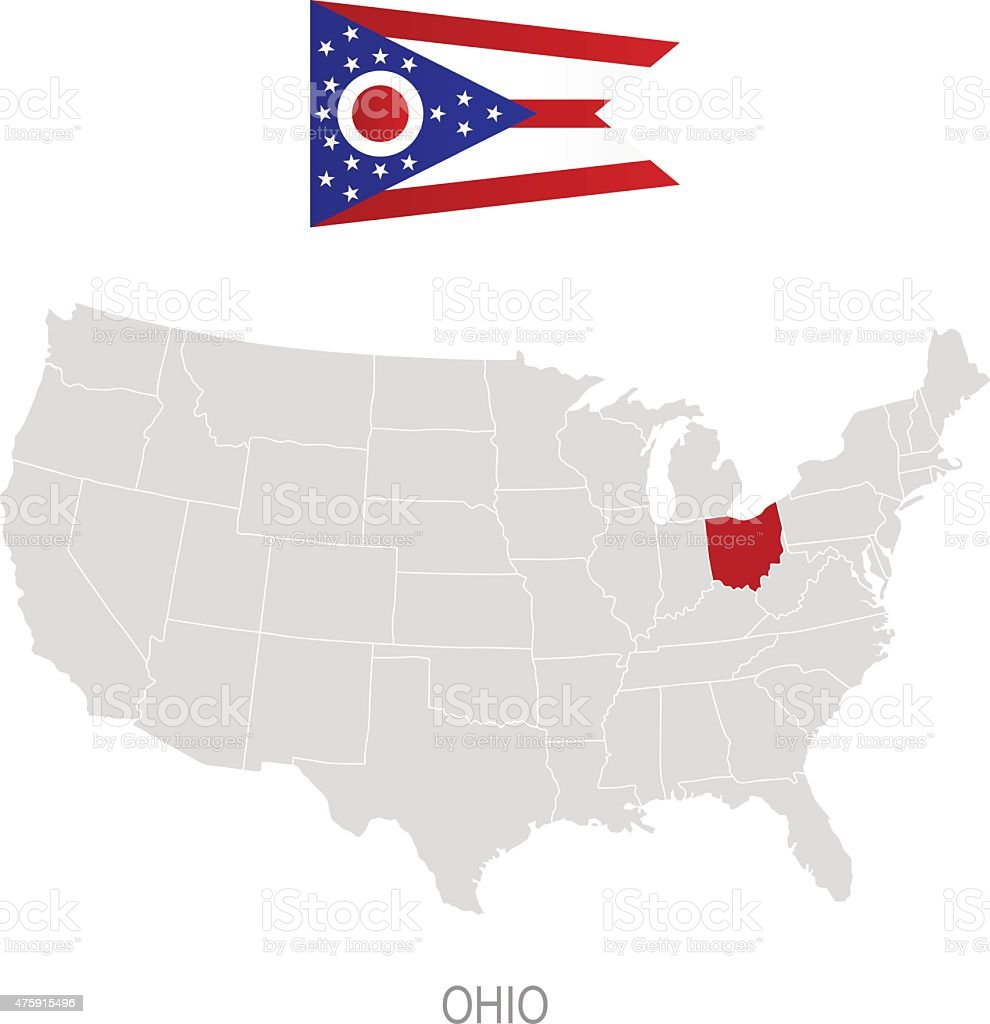 Flag Of Ohio And Location On Us Map Stock Vector Art - Ohio in us map