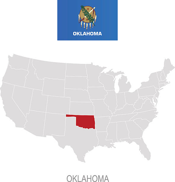 Oklahoma State Flag Clip Art Vector Images Illustrations IStock - Oklahoma in us map