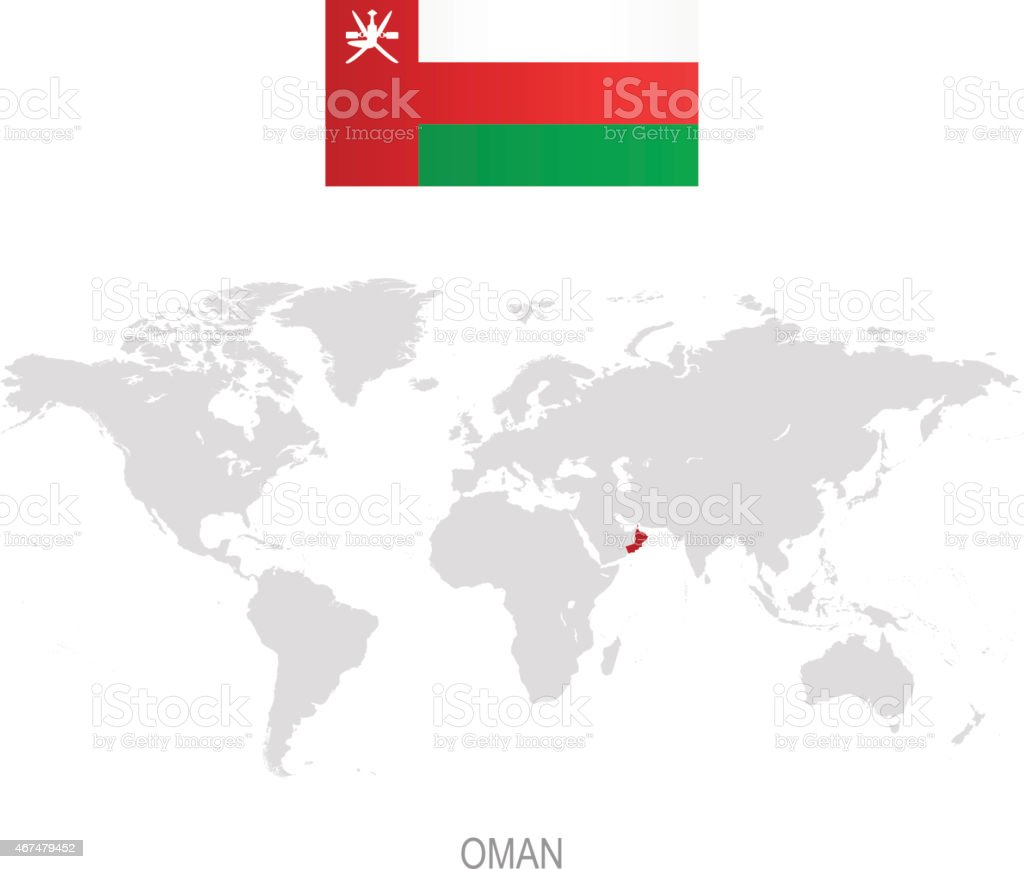 Flag Of Oman And Designation On World Map Stock Vector Art More