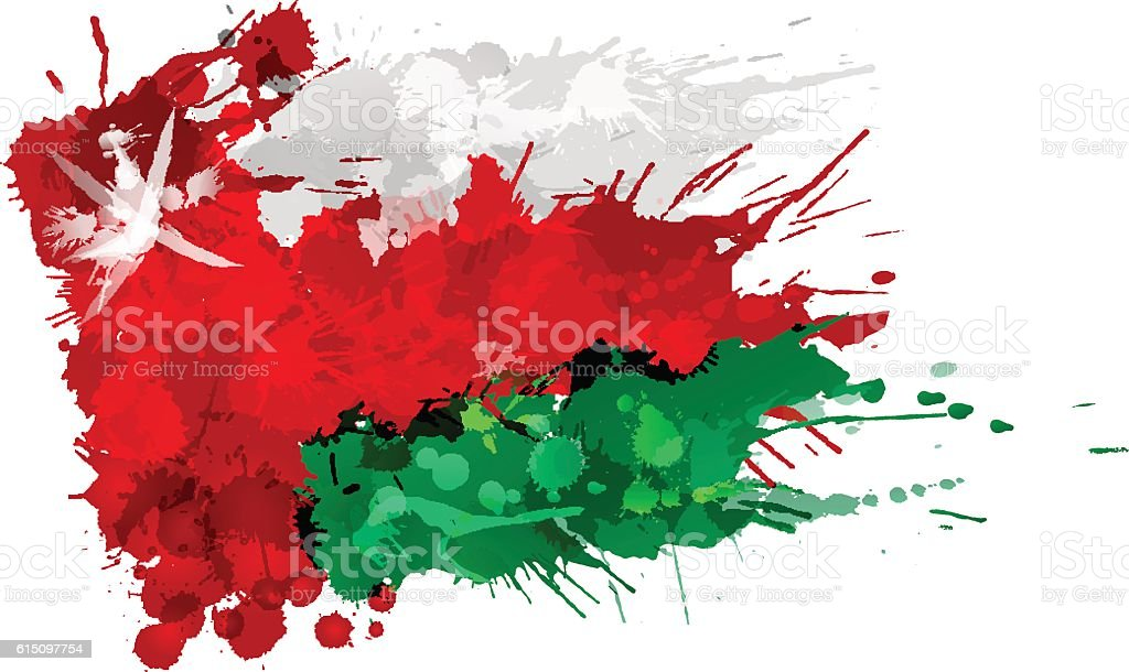 Flag of  Oman made of colorful splashes vector art illustration