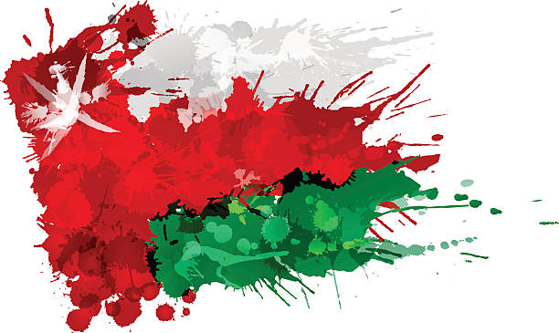 flag of  oman made of colorful splashes - oman stock illustrations