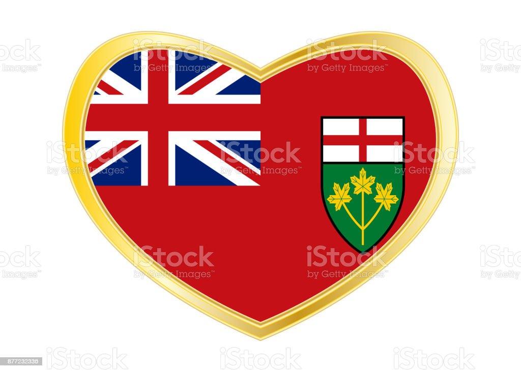 Flagge Von Ontario In Herz Form Goldener Rahmen Stock Vektor Art und ...