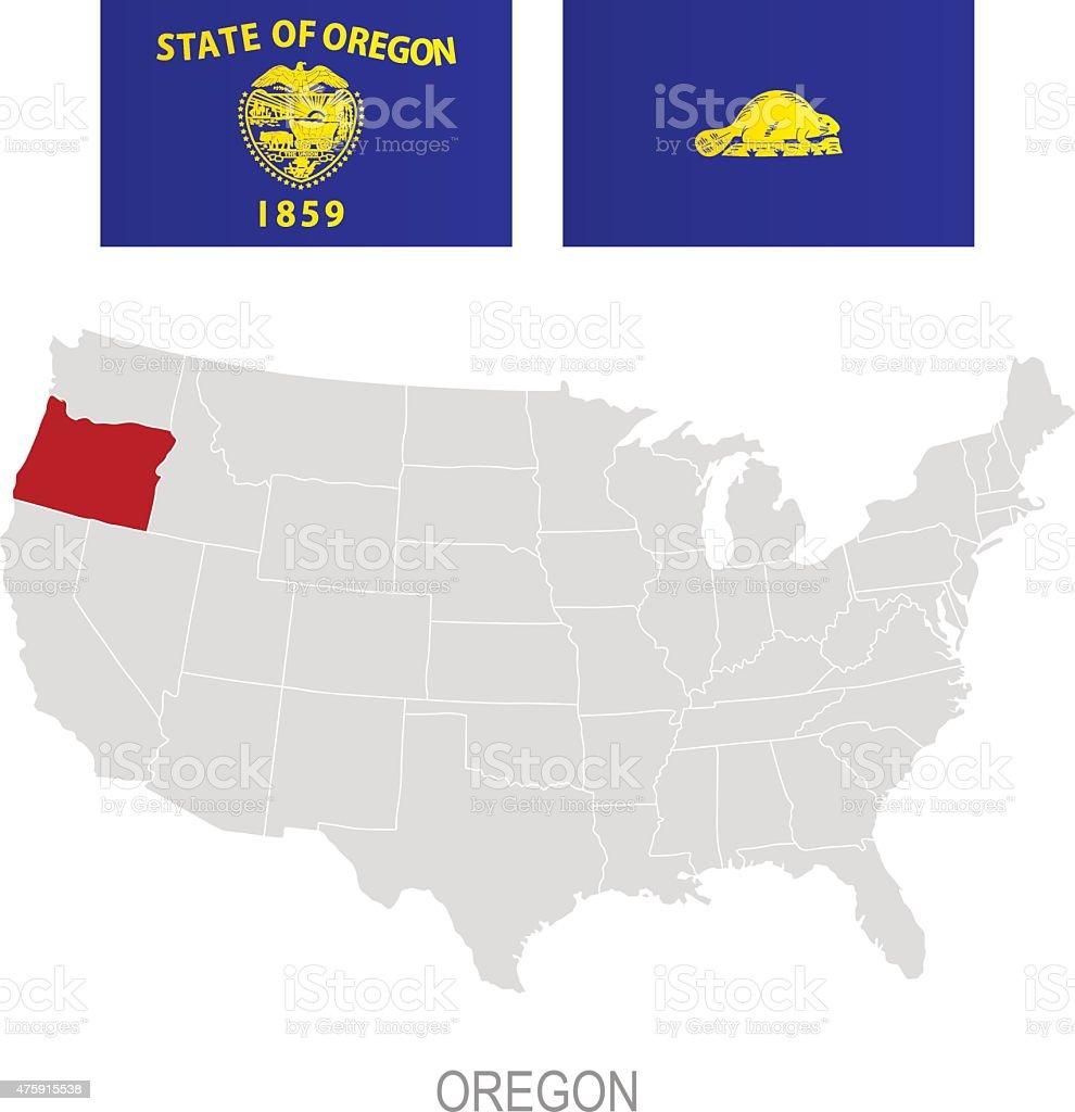 Bandeira de Oregon e localização no mapa dos EUA - ilustração de arte em vetor