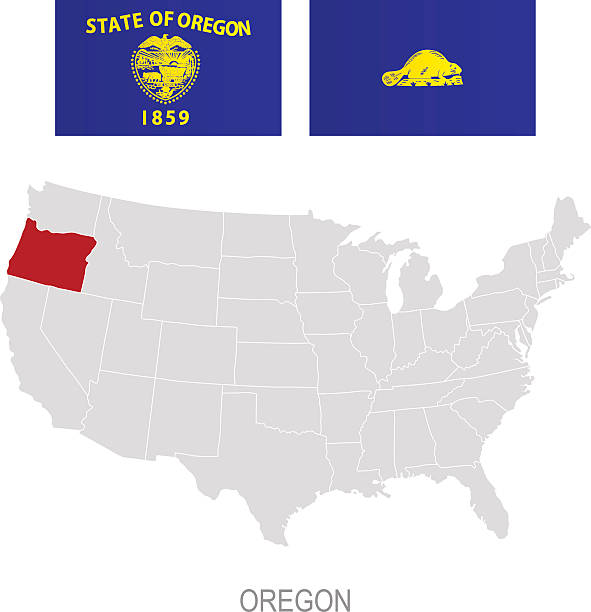 Oregon State Flag Clip Art Vector Images Illustrations IStock - Oregon on the us map