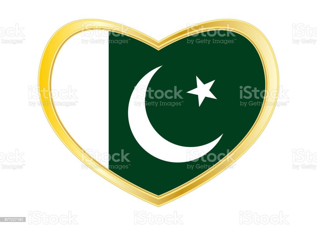 Flagge Von Pakistan In Herz Form Goldener Rahmen Stock Vektor Art ...