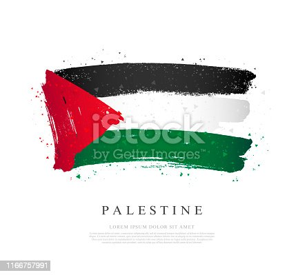 istock Flag of Palestine. Vector illustration on a white background. Brush strokes 1166757991
