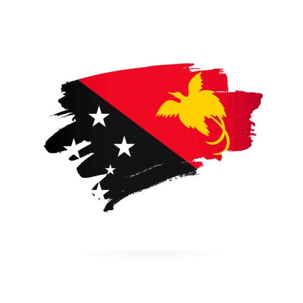 Flagge von Papua-Neuguinea. Vektor-Illustration auf weißem Hintergrund. – Vektorgrafik