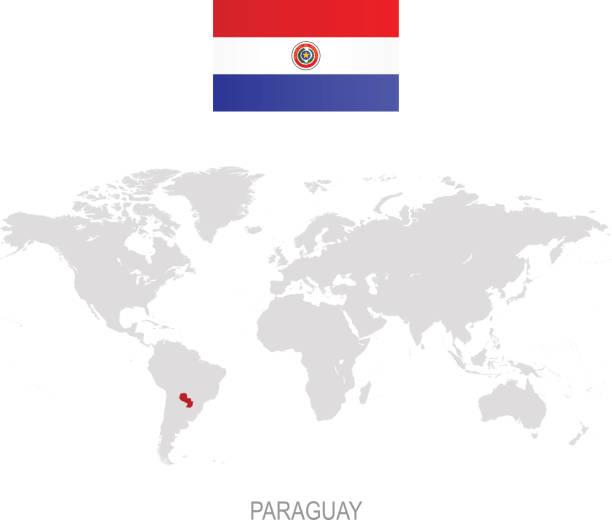 Bandera de Paraguay y designación en mapa mundial - ilustración de arte vectorial