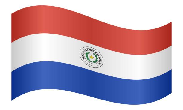 Bandera de Paraguay ondeando en el fondo blanco - ilustración de arte vectorial