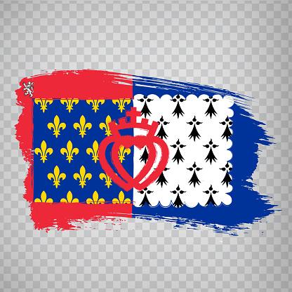 Flag of Pays de la Loire brush strokes. Flag Region Pays de la Loire of France on transparent background for your web site design, app, UI. French Republic.  EPS10.