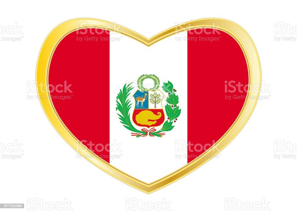 Flag of Peru in heart shape, golden frame vector art illustration
