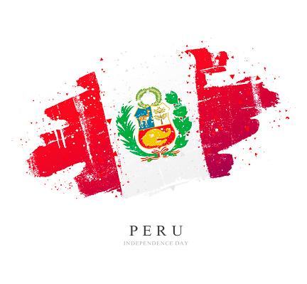 Flag of Peru. Vector illustration on white background. Brush strokes