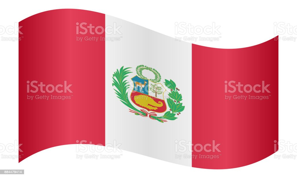 Flag of Peru waving on white background vector art illustration