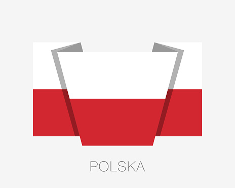 Flag of Poland. Flat Icon Waving Flag with Country Name Written in Polish on a White Background