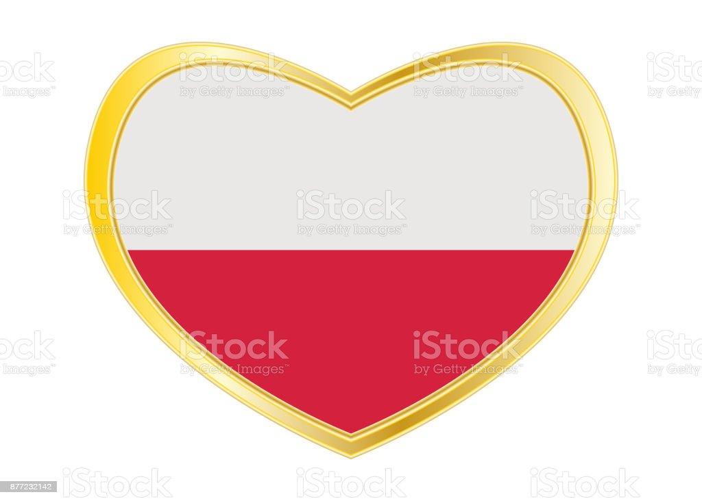 Flagge Von Polen In Herz Form Goldener Rahmen Stock Vektor Art und ...