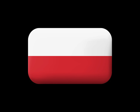 Flag of Poland. Matted Vector Icon and Button. Rectangular Shape with Rounded Corners