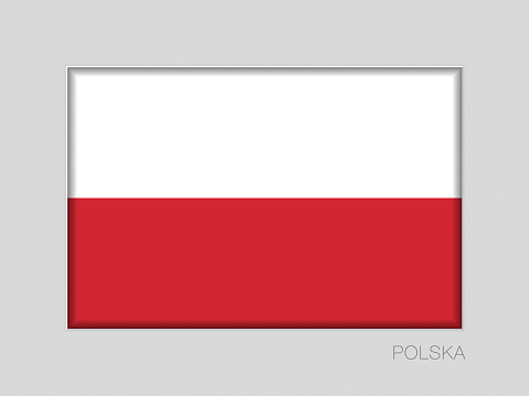 Flag of Poland. National Ensign Aspect Ratio 2 to 3 on Gray Cardboard. Written in Polish