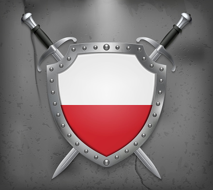 Flag of Poland. The Shield with National Flag. Two Crossed Swords. Vector Medieval Background